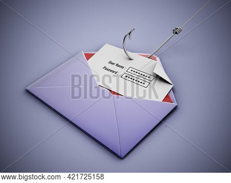 Fish Hook Stealing User Name And Password Text Areas On Paper Inside An Enveloppe. 3d Illustration.