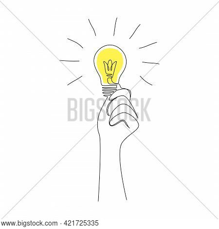 Hand Holding Light Bulb In One Continuous Line Drawing For Concept Of Creative Mind And Successful I