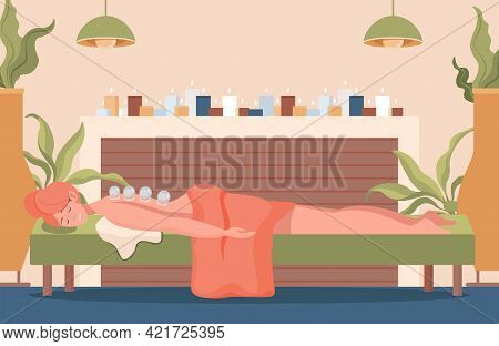 Young Pretty Woman Lying On Sofa With Closed Eyes And Cups On Her Back Vector Flat Illustration. Nat