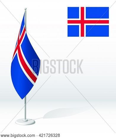 Iceland Flag On Flagpole For Registration Of Solemn Event, Meeting Foreign Guests. National Independ