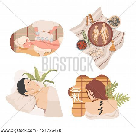 Traditional Chinese Or Oriental Alternative Medicine Vector Flat Illustration. Ginseng Root, Medical