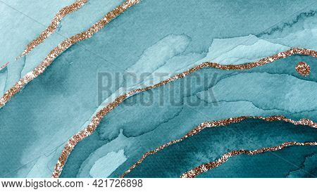 Shimmering teal watercolor textured background
