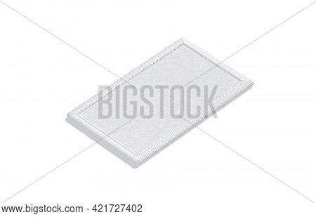 Blank White Rectangle Embroidered Patch Mockup, Side View, 3d Rendering. Empty Stitched Shoulder Str