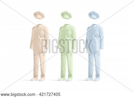 Blank Colored Chef Uniform Mockup Set, Side View, 3d Rendering. Empty Pink, Green And Blue Suit With
