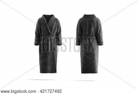 Blank Black Hotel Bathrobe Mockup, Front And Back View, 3d Rendering. Empty Plush Or Fleece Banian M
