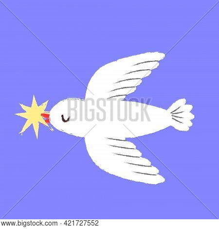 White Pigeon Fly. Bird With Star In Beak. Concept Of Dove Nring Good News