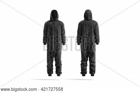 Blank Black Plush Jumpsuit With Hood Mockup, Front And Back, 3d Rendering. Empty Velour Homewear Or