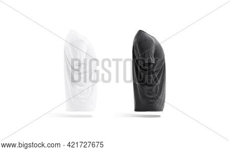 Blank Black And White Wrinkled T-shirt Mockup Set, Side View, 3d Rendering. Empty Undervest Jersey T