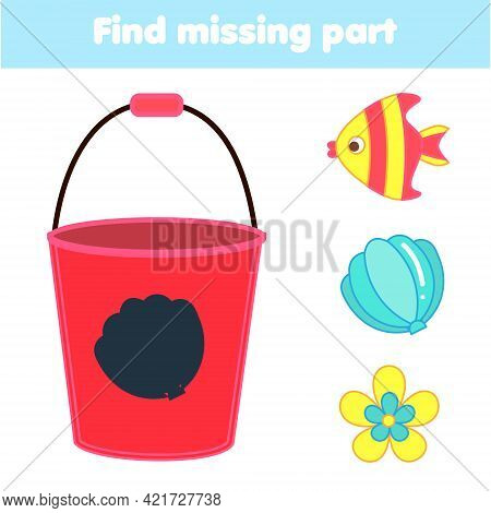 Shadow Matching Game. Summertime Beach Theme Kids Activity. Find Silhouette