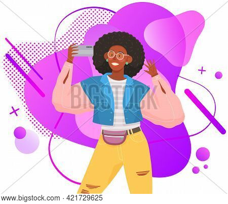 Young Girl Doing Live Streaming. Video Blogging Concept. Social Media Network Blogger. Woman Is Broa