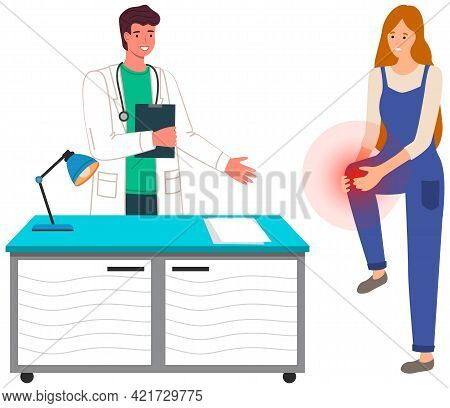 Woman With Knee Pain At Hospital. Physician Communicate With Patient In Office Of Doctor. Person Com