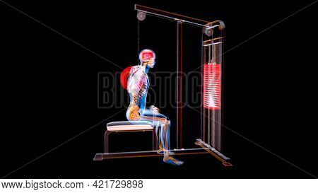 Abstract 3D art of a man on the Lat pulldown machine