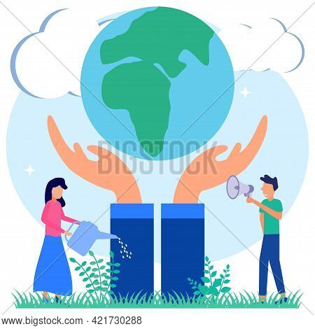 Flat Style Vector Illustration. People Care For And Protect The Earth. Socialist Character And Water