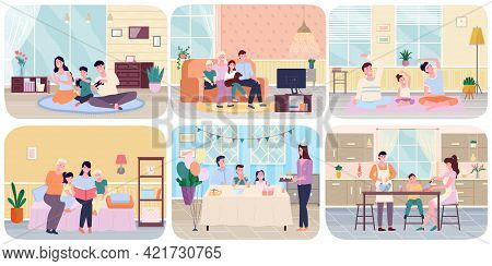 Family With Children Concept Flat Scenes Set Adults And Kids Spending Time Together At Home. Parents
