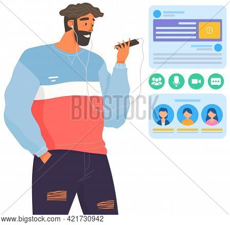 Happy Man With Headphones Is Looking At His Smartphone. Guy Do Video Call. Person In Headphones Conn