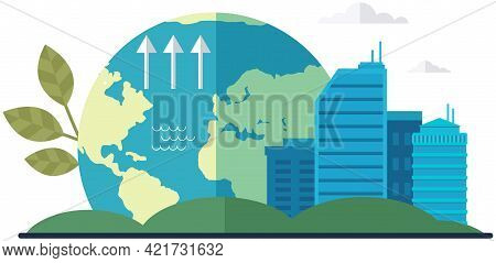 Changes In Water Level And Climate On Planet. Cityscape With Skyscrapers On Background Of Globe. Vis