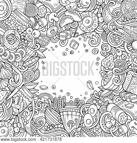Cartoon Vector Doodles Russian Food Frame. Line Art, Detailed, With Lots Of Objects Background. All