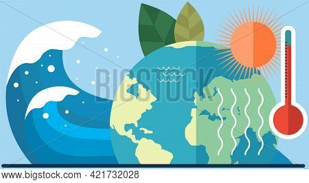 Overheating Of Surface Of Earth And Global Warming Concept. Climate Change On Planet. Sun Heats Surf