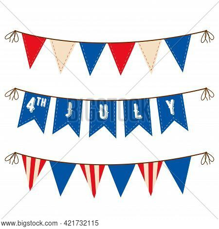 4th Of July. Decoration Set Of Garlands For Usa National Holidays, Events, Banners, Posters, Web.. F
