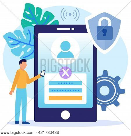 Vector Illustration Of Concept Login Page On User Account Mobile Screen. Desktop Computer With Login