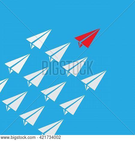 Leadership Success Concept Paper Plane Fly On Blue Background. Leadership Concept. Business Teamwork