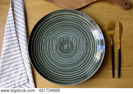 Plate On The Table. Empty Plate With Cutlery On The Table, Fork, Knife, Plate. Cutlery. Diet Concept