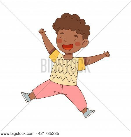 African American Boy Jumping With Joy Expressing Excitement And Happiness Vector Illustration