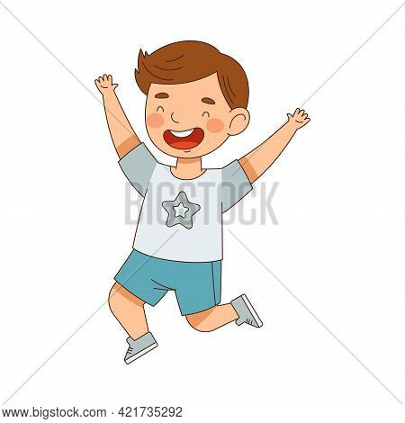Elated Boy In Shorts Jumping With Joy Expressing Excitement And Happiness Vector Illustration