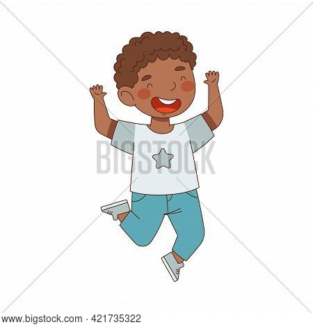 Elated African American Boy Jumping With Joy Expressing Excitement And Happiness Vector Illustration