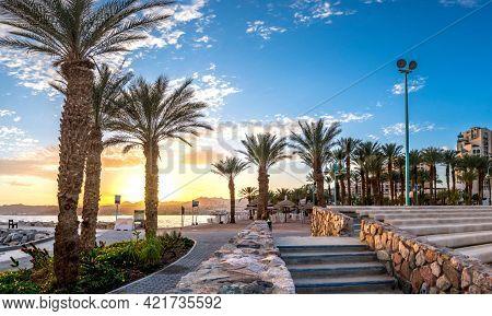 Tel-aviv Beach On Mediterranean Sea, Aerial View, Israel.