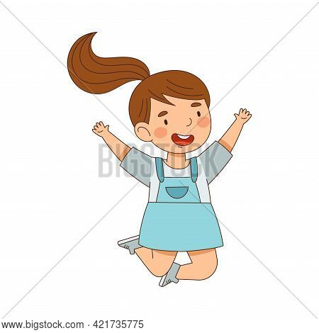 Elated Girl With Ponytail Jumping With Joy Expressing Excitement And Happiness Vector Illustration