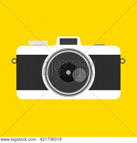 Retro Camera In A Flat Style On A Colored Background. Old Camera With Strap. Travel And Tourist.