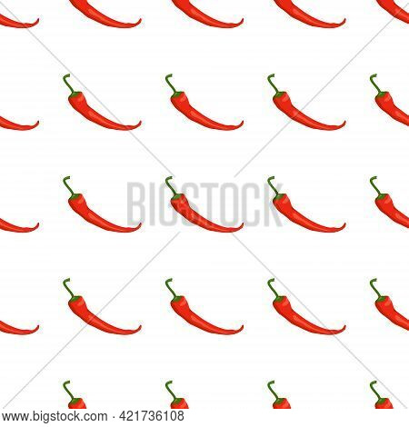 Seamless Pattern With Chilli Peppers. Vibrant Print With Red Hot Vegetables. Background For Menu Or