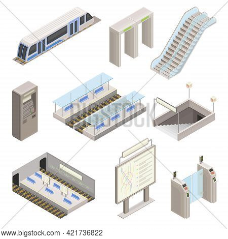 Metro Or Subway As Rapid Transit Urban System With Electric Railway, Platform, Ticket Barrier And Mo