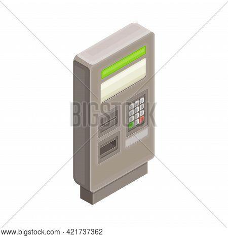 Ticket Vending Machine In Metro Or Subway Isometric Vector Illustration