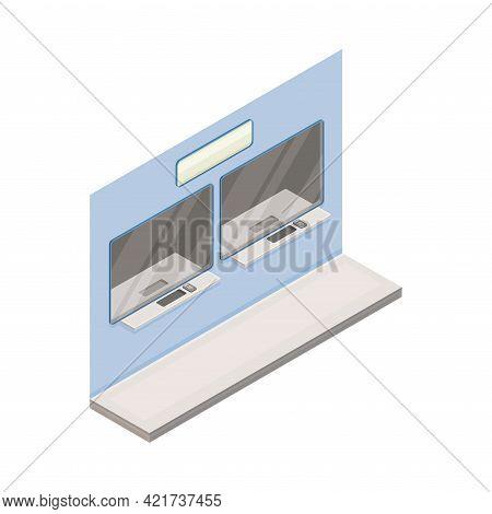 Ticket Window In Metro Or Subway As Rapid Transit Urban System Isometric Vector Illustration