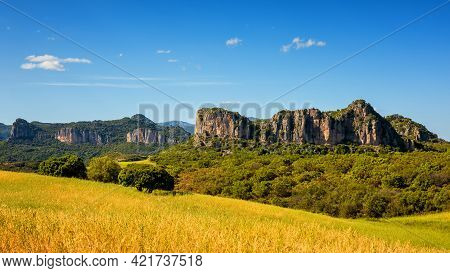 Beautiful Blue Sky Over The Limestone Formations Of Ogliastra, Sardinian Dolomite Formations. Nature