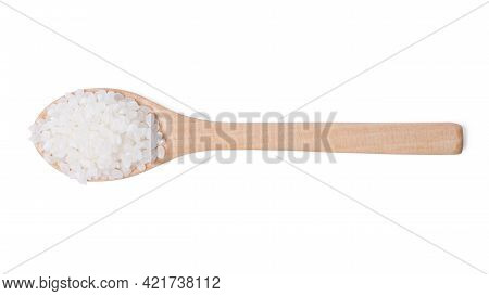 Isolated Top View Raw Rice. Raw Rice Japanese In Wooden Spoon On White Background. Asian White Rice