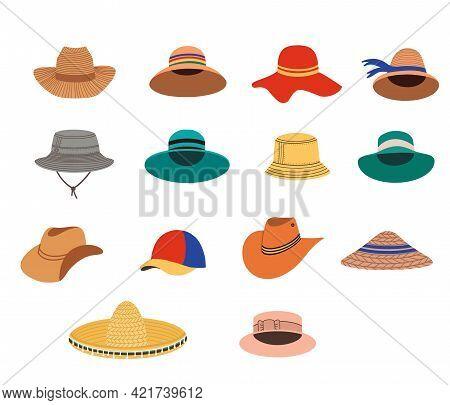 A Collection Of Summer Headgear. Vector Flat Illustration