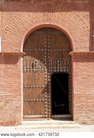 Open Door Of Medieval Times And Mudejar Style In The Hermitage Of Santa Eulalia In The Town Of Totan