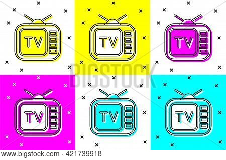 Set Retro Tv Icon Isolated On Color Background. Television Sign. Vector