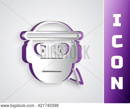 Paper Cut Bandit Icon Isolated On Grey Background. Paper Art Style. Vector