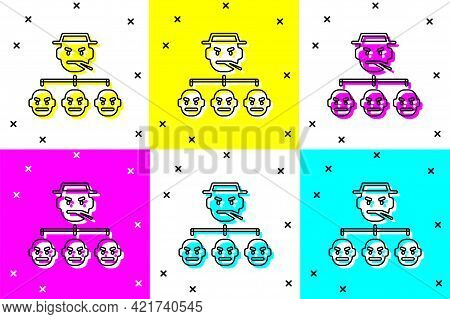 Set Mafia Icon Isolated On Color Background. Boss And Gangsters. Vector