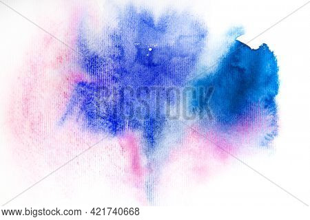 Abstract pink blue purple watercolor background, design element.