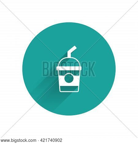 White Milkshake Icon Isolated With Long Shadow. Plastic Cup With Lid And Straw. Green Circle Button.