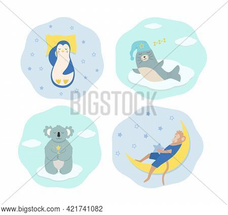 Set Of Funny Cartoon Animals Sleeping And Dreaming. A Penguin Sleeps On A Pillow, Seal In A Nightcap