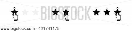 Customer Satisfaction Stars Illustration. Stars Rating Icons Set. Hand Clicking Rating Stars On Whit