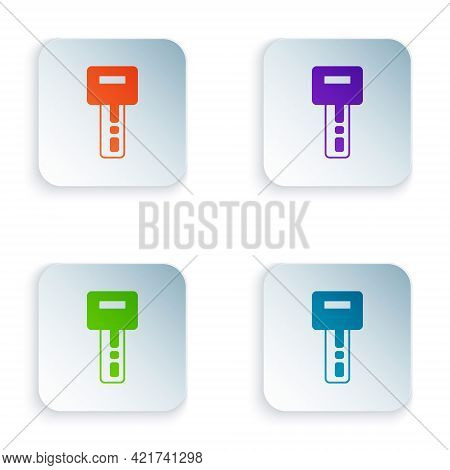 Color Car Key With Remote Icon Isolated On White Background. Car Key And Alarm System. Set Colorful