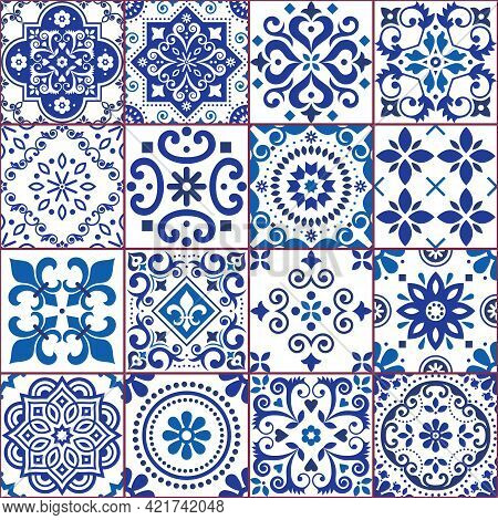 Portuguese And Spanish Azulejo Tiles Seamless Vector Pattern Collection In Navy Blue And White, Trad