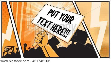 Raised Hand Clenching Placard Or Poster With Place For Your Text. Fight For Your Rights. Rights Prot